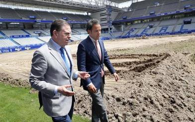 Alfredo Canteli subraya la urgencia de la renovación del césped del Carlos Tartiere