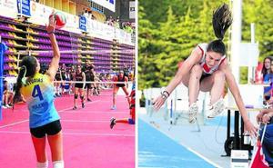 Lara Tomé, una candasina campeona de voleibol y de longitud con 14 años