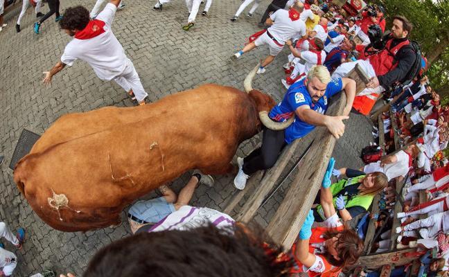 Un Miura empitona a un seguidor madrileño del Real Oviedo
