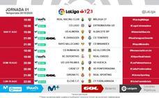 Horarios de las tres primeras jornadas de Segunda División