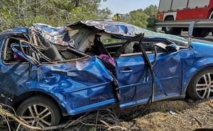 Dos heridos en una accidente en la autopista del Huerna