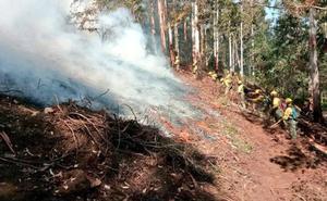 Los bomberos trabajan en la extinción de dos incendios en Allande y Valdés