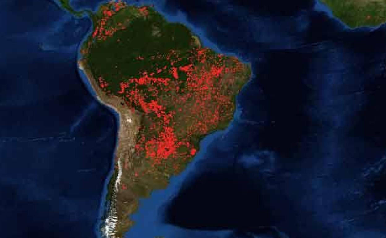Nasa Mapa De Incendios.La Imagen De La Nasa De Los Incendios En La Amazonia Que