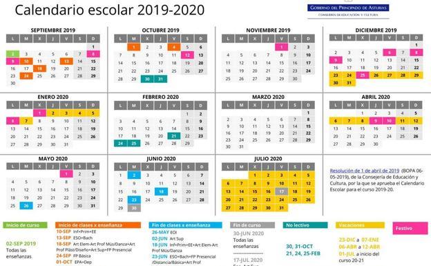 Calendario 2020 Pais Vasco.Calendario Escolar En Asturias El Martes Comienza El Curso