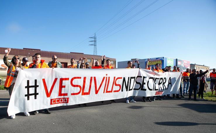Manifestación de trabajadores de Vesuvius