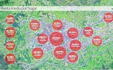 Los hogares de Gil de Jaz y Toreno registran la renta media más alta con 50.863 euros
