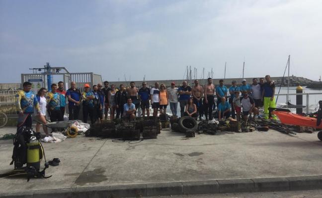 300 kilos de basura marina