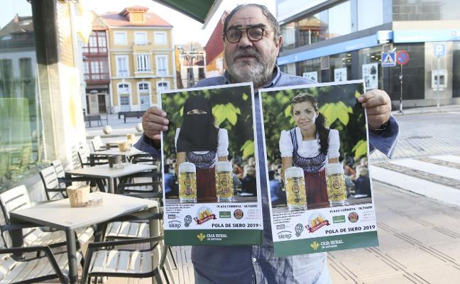 La Sociedad de Festejos de Siero coloca un velo negro a la modelo del cartel del Oktoberfest