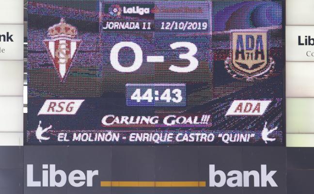 El equipo firma la peor primera parte en Segunda en El Molinón desde 1956