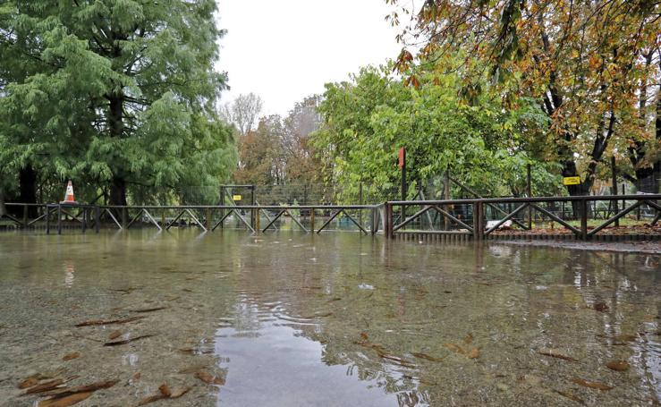 El parque Isabel La Católica, cerrado por las fuertes lluvias