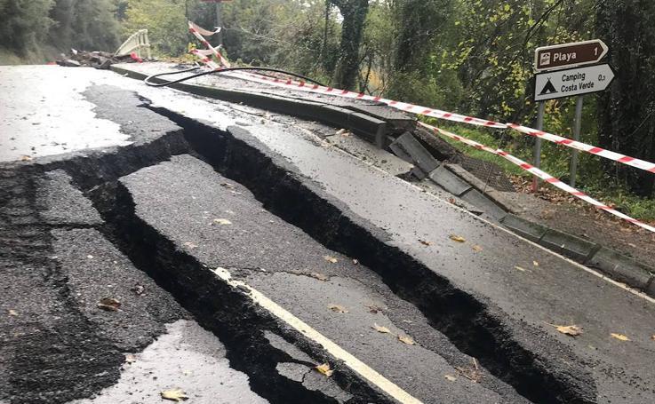 Así ha quedado la carretera que comunica Colunga y Lastres tras el temporal