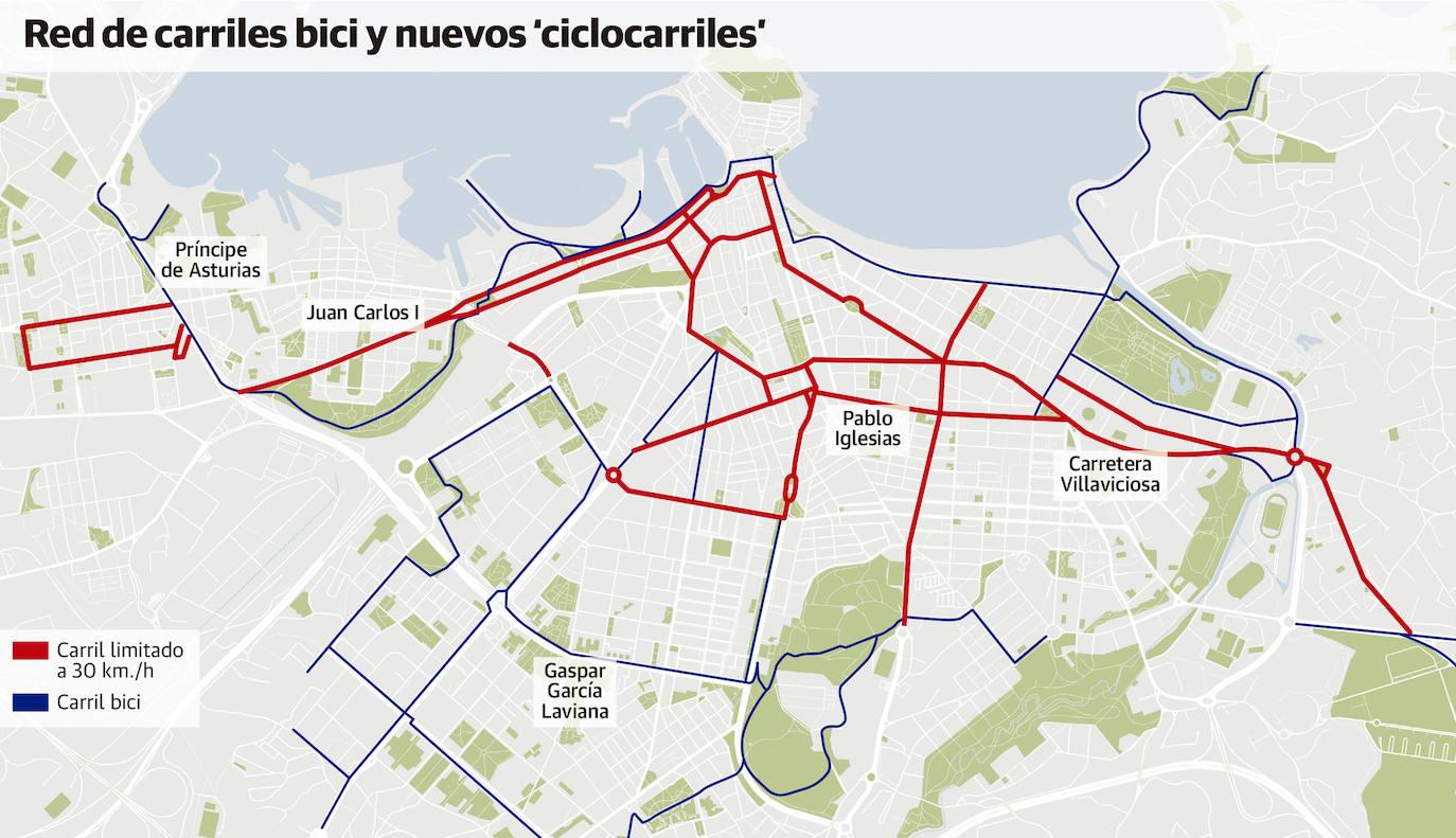 Mapa Carril Bici Gijon.Los Principales Ejes Urbanos Tendran Carriles Limitados A 30 Para Coches Bicis Y Patinetes El Comercio