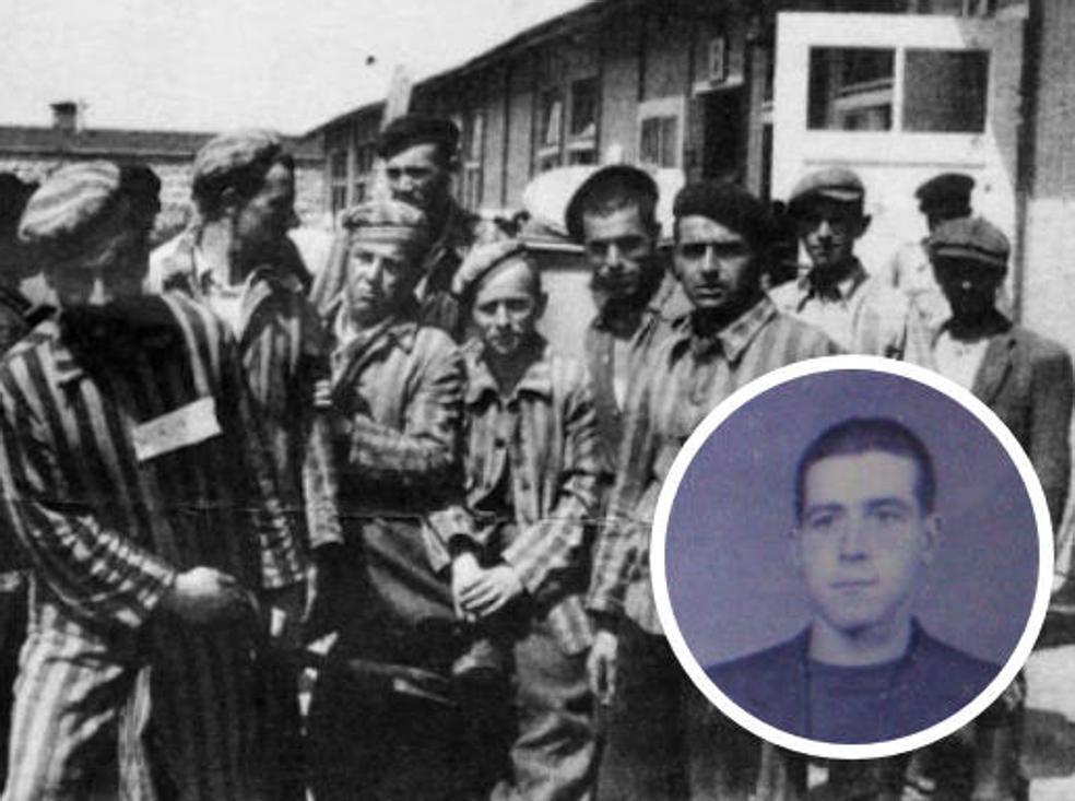 Prisioneros, en el campo de Mauthausen. En el círculo inferior: imagen de Manuel Ángel Ramos, uno de los asturianos que sobrevivió a Mauthausen./ E. C.
