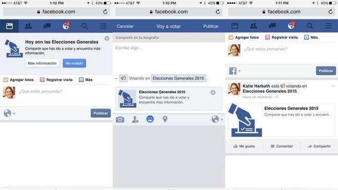 Facebook activará el domingo el botón 'He Votado' para animar a acudir a las urnas