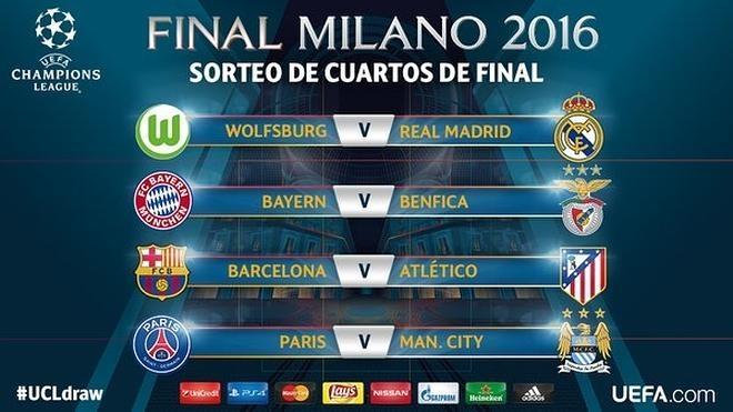 Barça-Atlético y Wolfsburgo-Madrid en cuartos