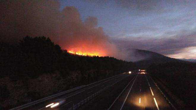 El fuego quema una amplia zona de pinar en Barcia